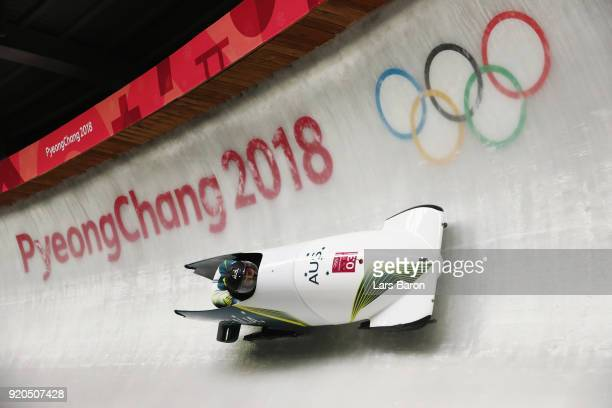 Lucas Mata and David Mari of Australia during the Men's 2Man Bobsleigh on day 10 of the PyeongChang 2018 Winter Olympic Games at Olympic Sliding...