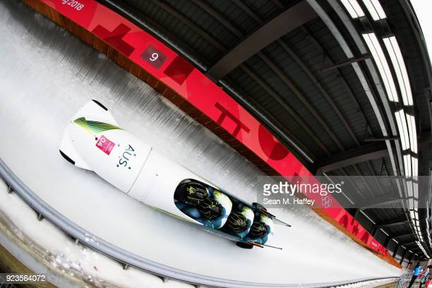 Lucas Mata David Mari Lachlan Reidy and Hayden Smith of Australia compete during 4man Bobsleigh Heats on day fifteen of the PyeongChang 2018 Winter...