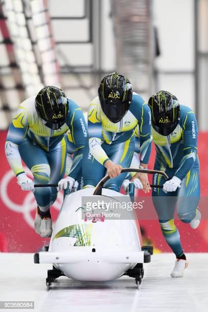 Lucas Mata David Mari Lachlan Reidy and Hayden Smith of Australia compete during 4man Bobsleigh Heats on day fifteen of the PyeongChang 2018 Winter...