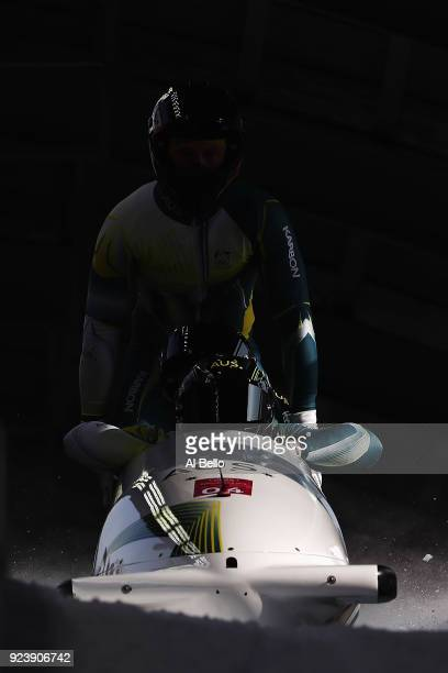 Lucas Mata David Mari Lachlan Reidy and Hayden Smith of Australia finish their run during the 4man Boblseigh Heats on day sixteen of the PyeongChang...