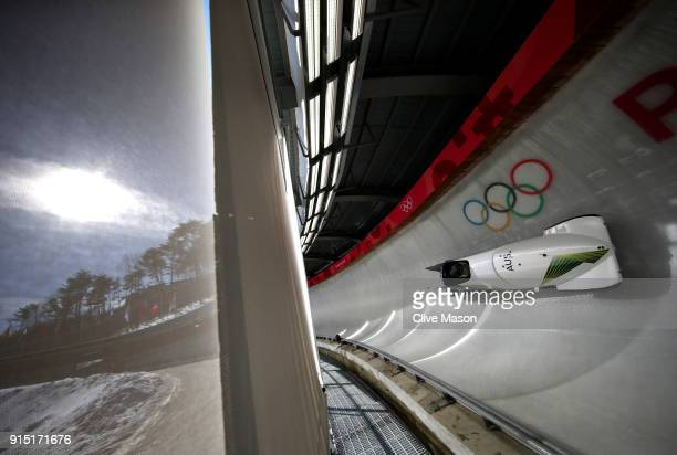 Lucas Mata of Australia trains during Bobsleigh practice ahead of the PyeongChang 2018 Winter Olympic Games at Olympic Sliding Centre on February 7...