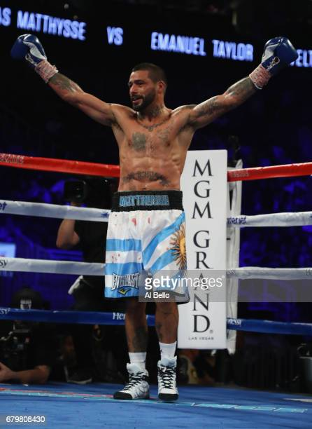 Lucas Matthysse celebrates after defeating Emmanuel Taylor during their welterweight bout at TMobile Arena on May 6 2017 in Las Vegas Nevada