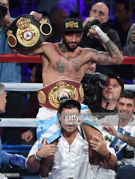 Lucas Matthysse celebrates his fifthround TKO victory over Emmanuel Taylor in their welterweight bout at TMobile Arena on May 6 2017 in Las Vegas...