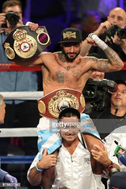 Lucas Matthysse celebrates his victory over Emmanuel Taylor after their welterweight bout at TMobile Arena on May 6 2017 in Las Vegas Nevada