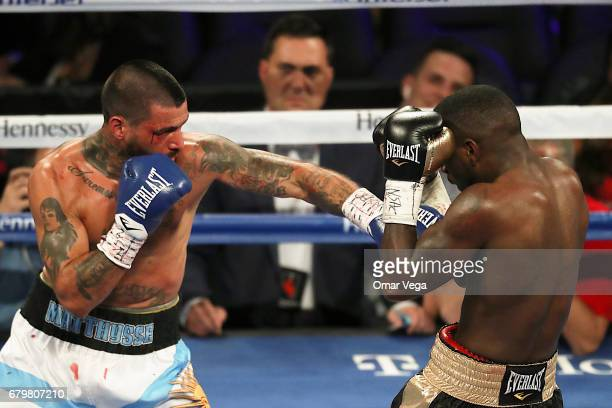 Lucas Matthysse fighs against Emmanuel Taylor during their welterweight bout at TMobile Arena on May 6 2017 in Las Vegas Nevada