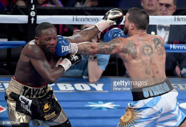 Lucas Matthysse hits Emmanuel Taylor with a left in the fourth round of their welterweight bout on May 6 2017 in Las Vegas Nevada Matthysse won by...