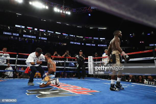 Lucas Matthysse is congratulated by his corner after defeating Emmanuel Taylor by TKO in the fifth round of their welterweight bout at TMobile Arena...