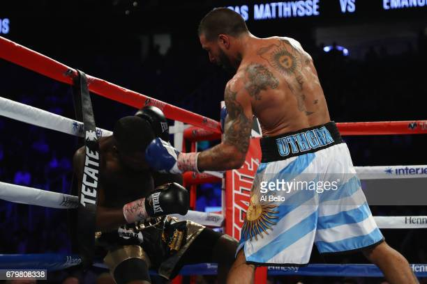 Lucas Matthysse knocks down Emmanuel Taylor during their welterweight bout at TMobile Arena on May 6 2017 in Las Vegas Nevada