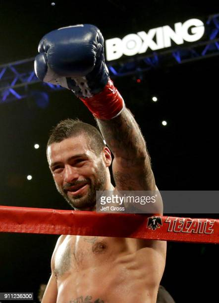 Lucas Matthysse of Argentina celebrates his victory over Tewa Kiram of Thailand at The Forum on January 27 2018 in Inglewood California