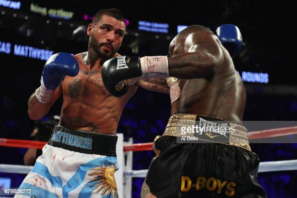 Lucas Matthysse punches Emmanuel Taylor during their welterweight bout at TMobile Arena on May 6 2017 in Las Vegas Nevada