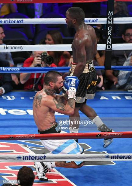 Lucas Matthysse reacts after defeating Emmanuel Taylor by fifthround TKO in their welterweight bout at TMobile Arena on May 6 2017 in Las Vegas Nevada