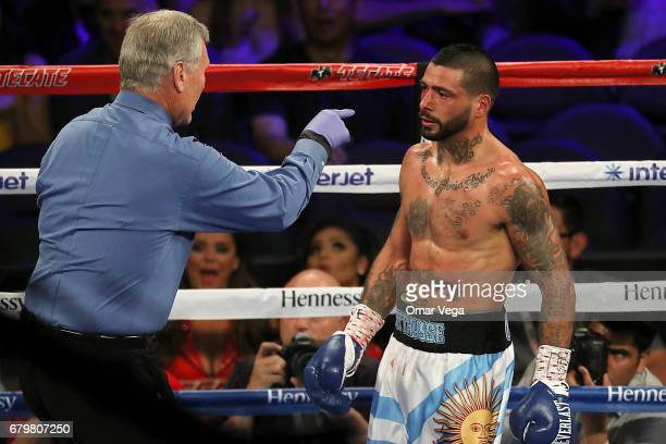 Lucas Matthysse receives a caution during their welterweight bout at TMobile Arena on May 6 2017 in Las Vegas Nevada