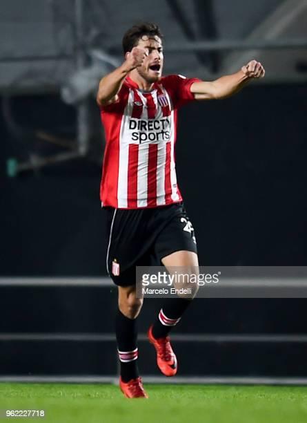 Lucas Melano of Estudiantes La Plata celebrates after scoring the second goal of his team during a match between Estudiantes de La Plata and Nacional...