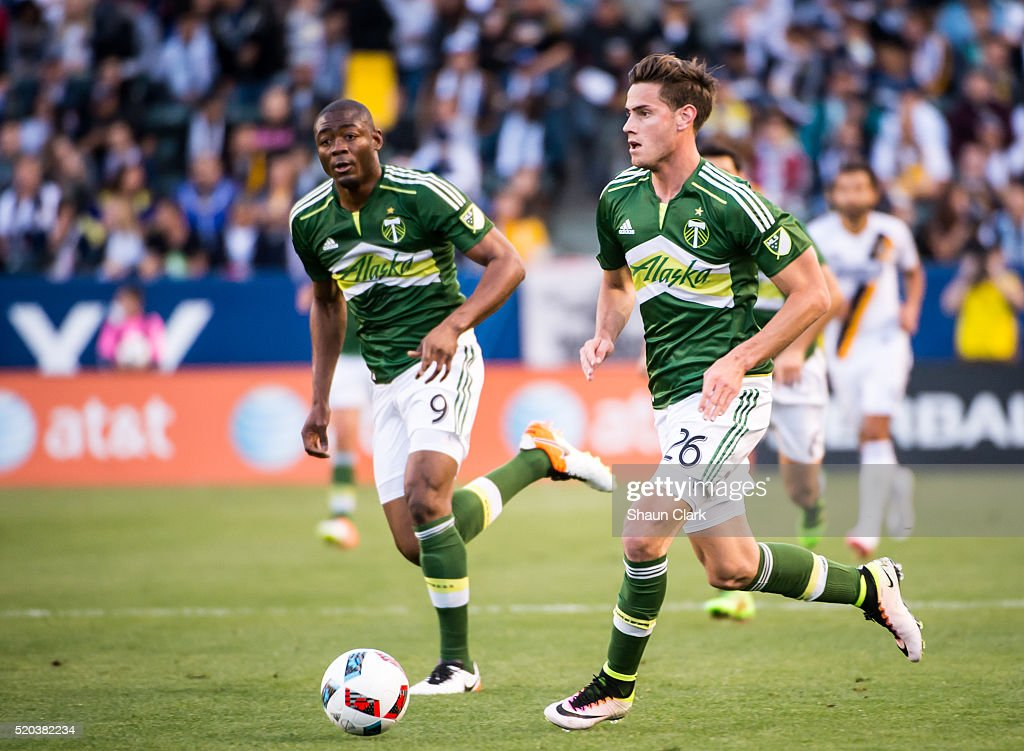 Lucas Melano #26 of Portland Timbers races toward the goal during Los Angeles Galaxy's MLS match against Portland Timbers at the StubHub Center on April 10, 2016 in Carson, California. The match ended in a 1-1 tie