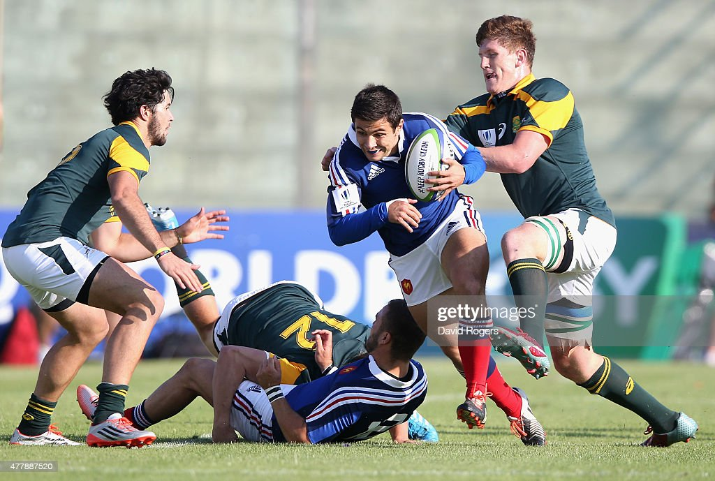 Lucas Meret of France charges upfield during the World Rugby U20 Championship 3rd Place Play-Off match between France and South Africa at Stadio Giovanni Zini on June 20, 2015 in Cremona, Italy.