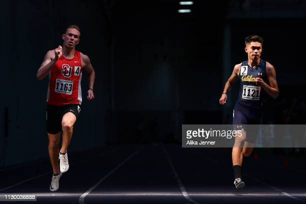 Lucas Milne of Seattle U and Blaise Carson of Cal compete in the men's 400 meter dash at Dempsey Indoor Center on February 15 2019 in Seattle...