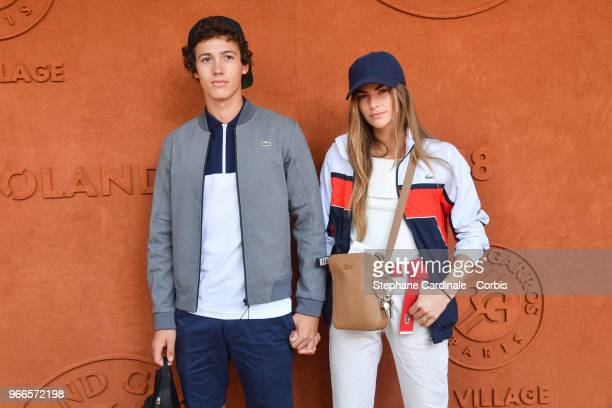 Lucas Morin and Clara Berry attend the 2018 French Open Day Seven at Roland Garros on June 2 2018 in Paris France