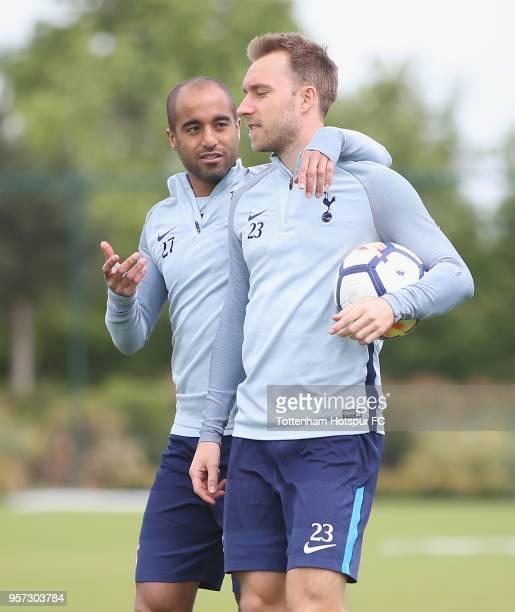 Lucas Moura and Christian Eriksen of Tottenham Hotspur during the Tottenham Hotspur training session at Tottenham Hotspur Training Centre on May 11...
