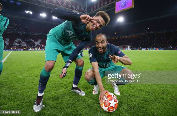 Lucas Moura and Dele Alli of Tottenham Hotspur celebrate during the UEFA Champions League Semi Final second leg match between Ajax and Tottenham...