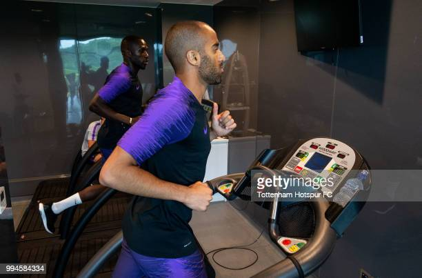 Lucas Moura and Moussa Sissoko of Tottenham Hotspur during pre season training at Tottenham Hotspur Training Centre on July 9 2018 in Enfield England