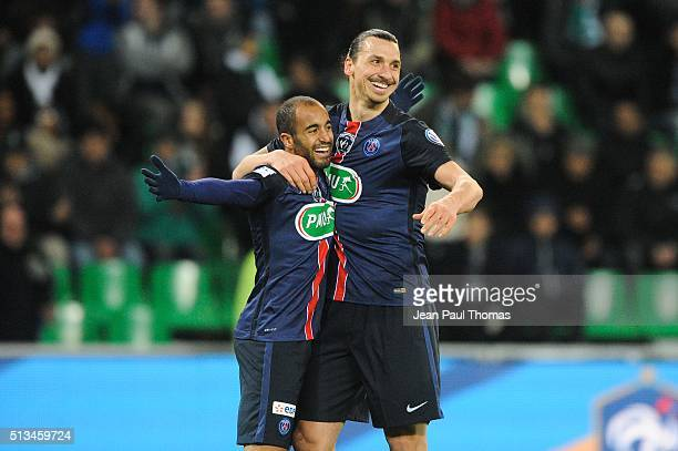 Lucas Moura and Zlatan Ibrahimovic of PSG celebrate during the French Cup game between Saint Etienne V Paris Saint Germain at Stade GeoffroyGuichard...