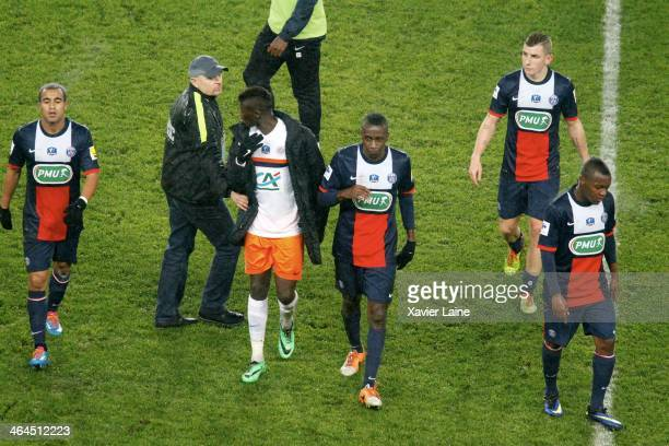 Lucas Moura Blaise Matuidi Lucas Digne and Hervin Ogenda of Paris SaintGermain are dispointed after defeat during the French Cup match between Paris...