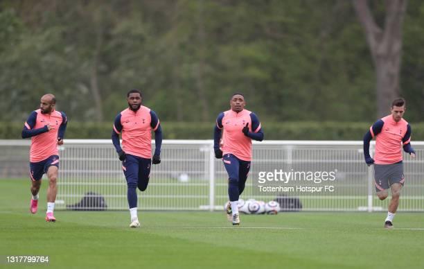 Lucas Moura, Japhet Tanganga, Steven Bergwijn and Giovani Lo Celso of Tottenham Hotspur during the Tottenham Hotspur training session at Tottenham...