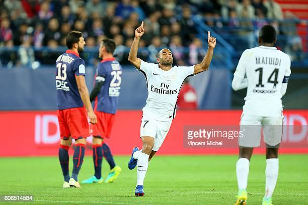 Lucas Moura of Paris Saint Germain celebrates during the Ligue 1 match between SM Caen and Paris Saint Germain at Stade Michel D'Ornano on September...