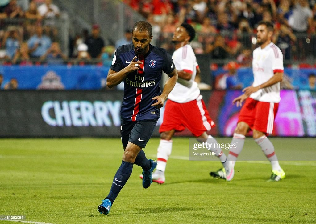 Lucas Moura #7 of Paris Saint-Germain celebrates after scoring from the penalty spot during the 2015 International Champions Cup match against Benfica at BMO Field on July 18, 2015 in Toronto, Ontario, Canada.