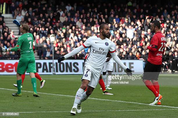 Lucas Moura of Paris SaintGermain celebrates his second goal during the French League 1 match between EA Guingamp and Paris SaintGermain on April 9...