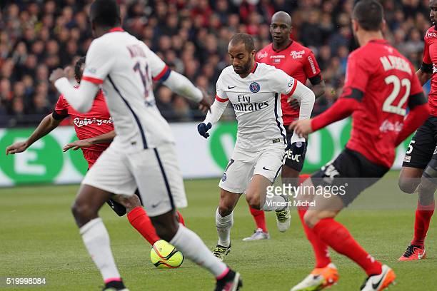 Lucas Moura of Paris SaintGermain during the French League 1 match between EA Guingamp and Paris SaintGermain on April 9 2016 in Guingamp France