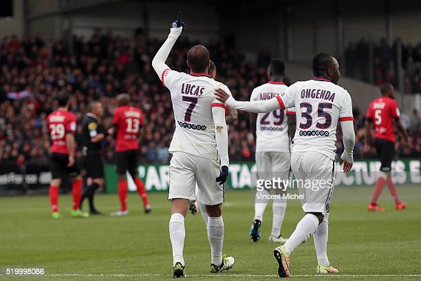 Lucas Moura of Paris SaintGermain jubilates as he scores the first goal during the French League 1 match between EA Guingamp and Paris SaintGermain...