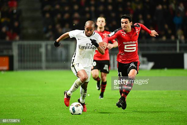 Lucas Moura of PSG and Benjamin Andre of Rennes during the Ligue 1 match between Stade Rennais and Paris Saint Germain at Roazhon Park on January 14...