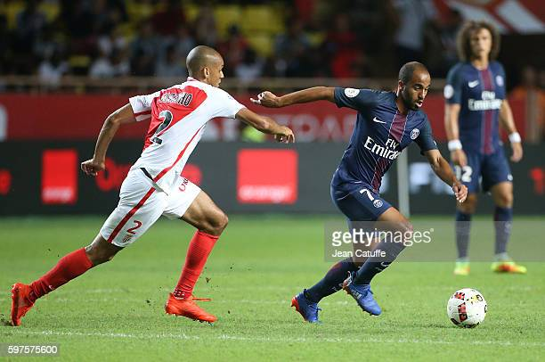 Lucas Moura of PSG and Fabio Tavares aka Fabinho of Monaco in action during the French Ligue 1 match between AS Monaco and Paris SaintGermain at...