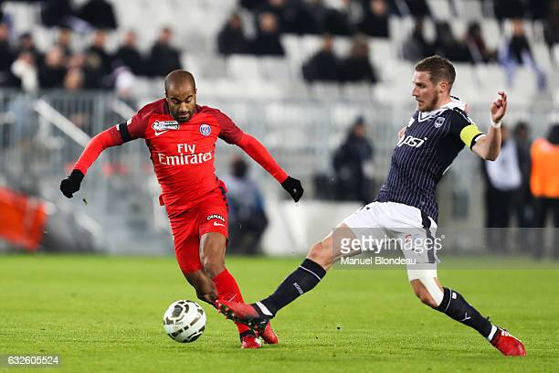 Lucas Moura of PSG and Gregory Sertic of Bordeaux during the Semi Final League Cup match between Bordeaux and Paris Saint Germain at Stade Matmut...