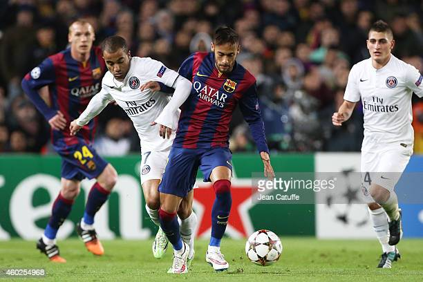 Lucas Moura of PSG and Neymar of FC Barcelona in action during the UEFA Champions League Group F match between FC Barcelona and Paris SaintGermain FC...