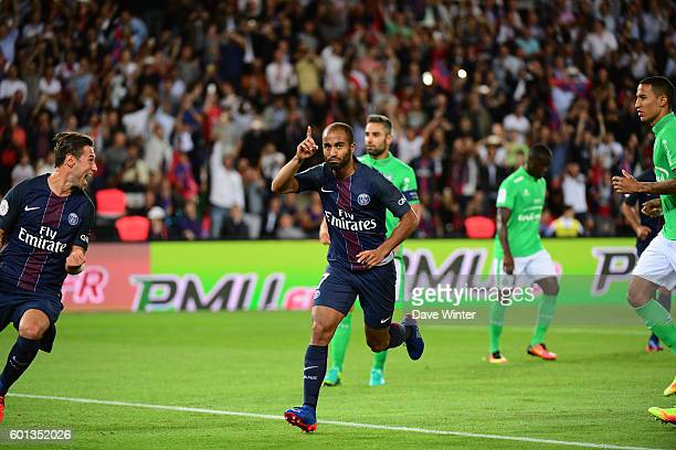 Lucas Moura of PSG celebrates after putting his side 10 ahead during the French Ligue 1 match between Paris Saint Germain and AS Saint Etienne at...