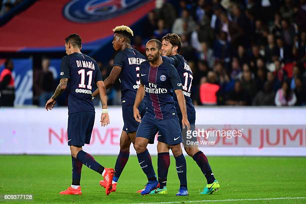 Lucas Moura of PSG celebrates his goal during the French Ligue 1 game between Paris SaintGermain and Dijon FCO at Parc des Princes on September 21...