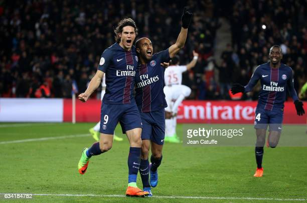 Lucas Moura of PSG celebrates his winning goal with Edinson Cavani during the French Ligue 1 match between Paris SaintGermain and Lille OSC at Parc...