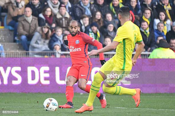 Lucas Moura of PSG during the French Ligue 1 match between Nantes and Paris Saint Germain at Stade de la Beaujoire on January 21 2017 in Nantes France