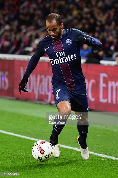 Lucas Moura of PSG during the French Ligue 1 match between Paris Saint Germain and Stade Rennais at Parc des Princes on November 6 2016 in Paris...