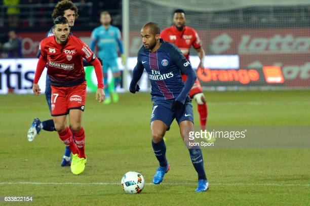 Lucas Moura of PSG during the Ligue 1 match between Dijon DCO and Paris Saint Germain at Stade Gaston Gerard on February 4 2017 in Dijon France