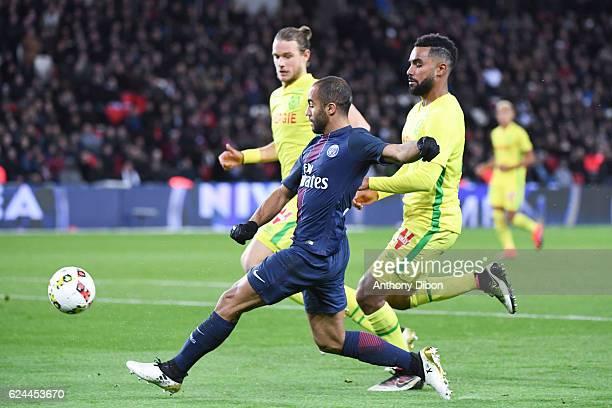 Lucas Moura of PSG during the Ligue 1 match between Paris Saint Germain PSG and Fc Nantes at Parc des Princes on November 19 2016 in Paris France