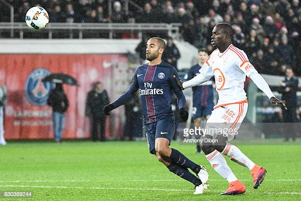 Lucas Moura of PSG scores a goal during the Ligue 1 match between Paris Saint Germain PSG and FC Lorient at Parc des Princes on December 21 2016 in...
