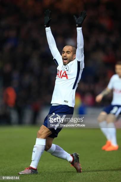 Lucas Moura of Spurs appeals during The Emirates FA Cup Fifth Round match between Rochdale AFC and Tottenham Hotspur at Spotland Stadium on February...