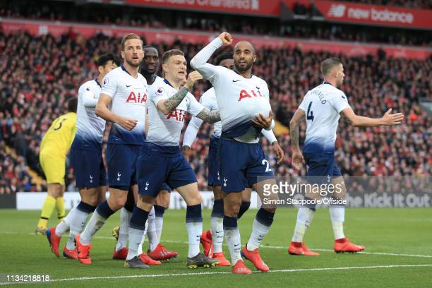 Lucas Moura of Spurs celebrates after scoring their 1st goal during the Premier League match between Liverpool and Tottenham Hotspur at Anfield on...
