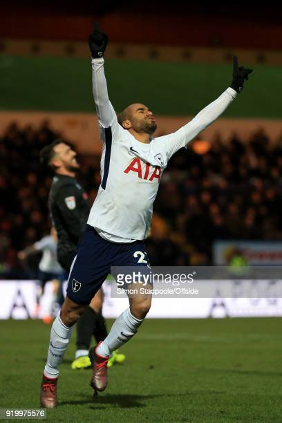 Lucas Moura of Spurs celebrates after scoring their 1st goal during The Emirates FA Cup Fifth Round match between Rochdale AFC and Tottenham Hotspur...