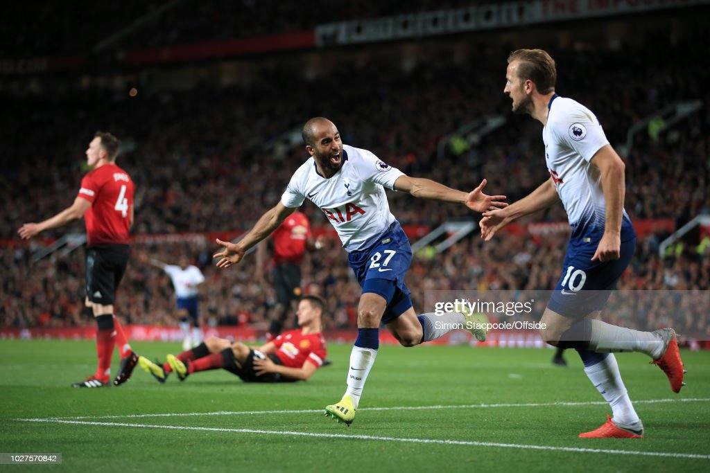 Lucas Moura of Spurs celebrates after scoring their 2nd goal during the Premier League match between Manchester United and Tottenham Hotspur at Old Trafford on August 27, 2018 in Manchester, England.