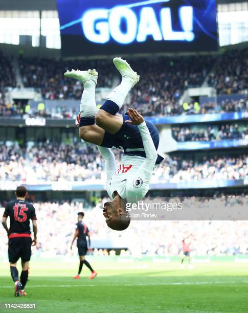 Lucas Moura of Spurs celebrates scoring his second goal during the Premier League match between Tottenham Hotspur and Huddersfield Town at Tottenham...