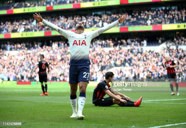 Lucas Moura of Spurs celebrates scoring his third goal during the Premier League match between Tottenham Hotspur and Huddersfield Town at Tottenham...